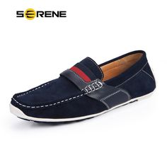 SERENE Suede Leather Flats Soft-bottom Men Shoes British Style Casual Moccasins Comfort Driving Loafers Slip-on Shoes Men 5199