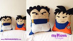 Almohadones grandes de fieltro de Dragon ball, Goku y Vegeta :D myvioletdesigns.com