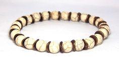 Mens White Beaded Bracelet Mens summer bracelet