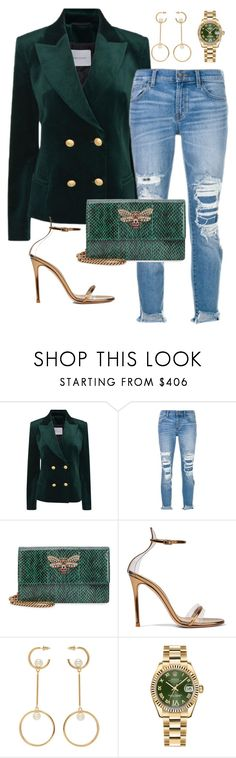 """""""Green Goblin"""" by stylemexo on Polyvore featuring Pierre Balmain, J Brand, Gucci, Gianvito Rossi, Chloé and Rolex"""