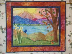 Mountain View Landscape Art Quilt Wall Hanging Home by LindaHarvey