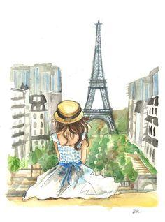 Paris Eiffel Tower Fashion Giclee Watercolor by BKDesignsStudio Paris Torre Eiffel, Paris Eiffel Tower, Eiffel Towers, Illustration Mode, Illustrations, Tour Effel, Paris Kunst, Paris Drawing, Paris Wallpaper