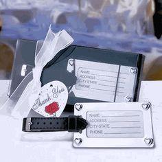 Elegant Chrome Luggage Tag Wedding Favors