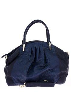 Sac à main Celine Luggage en daim bleu et cuir bleu-marine