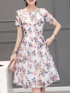 9b48cf8b841 Women White A-line Daily Short Sleeve Printed Floral Dress