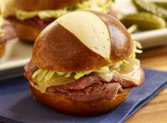 Instead of rye bread, our take on the traditional Ruben uses Sister Schubert's Soft Pretzel Rolls for a sandwich better than anything you'll find in a deli.
