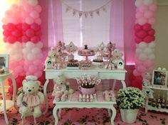 Decoração de Chá de Bebê para meninas! Tema Ursinha Confeiteira.