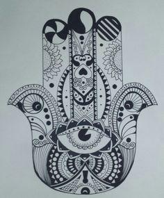 Hamsa, (representa a un ave como el ganso o el cisne)