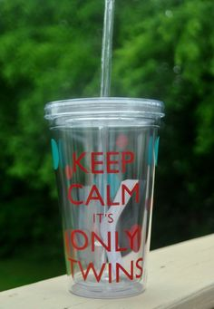 Keep Calm Its Only Twins Acrylic Tumbler  by customvinylbydesign, $16.00