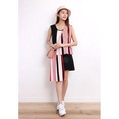 Asymmetric Stripe Mix Knit Dress