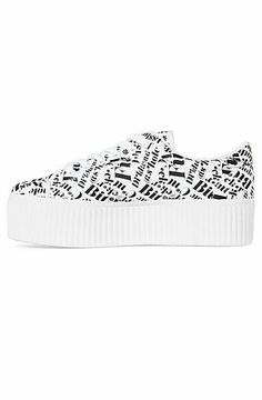 Jeffrey Campbell Creeper CYA Guns Sneaker in White With Black Words White & Black - Karmaloop.com