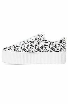 Jeffrey Campbell Creeper CYA Guns Sneaker in White With Black Words White & Black - Karmaloop.com