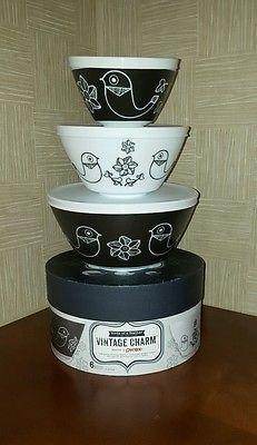 Pyrex Vintage Charm Birds of a Feather 6 Piece Mixing Bowl Set, Black/White