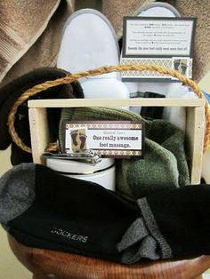 """Sock"" it to him package - Great idea (minus the gift certificate for a foot massage) for your deployed loved one.  Those feet are used and abused! Maybe even a good foot scrub in the package. - MilitaryAvenue.com"