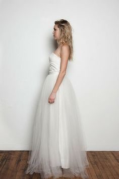 & For Love Veronique Bohemian Wedding Dress, Tulle and Silk