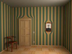 Surrealistische Tapeten - gelbe und grüne Streifen