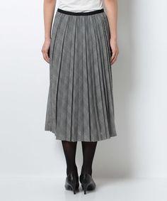 カラミチェックロングプリーツスカート