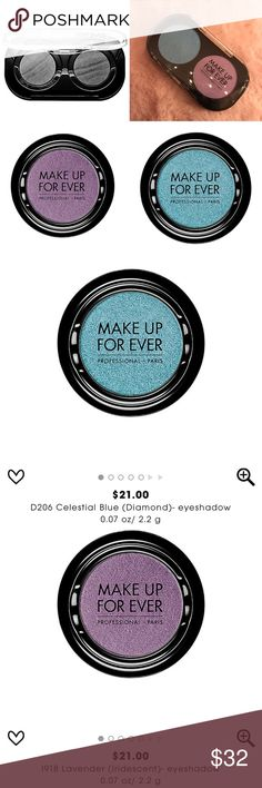 """MAKEUP FOREVER Custom Eyeshadow Palette NEW $42  Brand new refillable eyeShadow duo palette by MAKE UP FOR EVER. Currently has eyeshadows """"Lavender"""" and """"Celestial Blue """". Special edition from Sephora! Retail: $42.00 Makeup Forever Makeup Eyeshadow"""