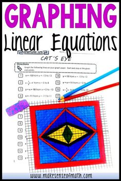 Check out this graphing linear equation activity. Your 8th grade, Algebra 1, and middle school math students will love practicing graphing equations in slope intercept form. Better than any worksheet, this fun product is aligned to the common core standards and will have your students practicing graphing and geometry. Click here for more information. #makesenseofmath #eighthgrademath Algebra Games, Algebra 1, Math Games, Middle School Activities, Fun Math Activities, 9th Grade Math, Math Lesson Plans, Math Education, Math Concepts