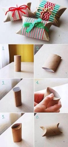 トイレットペーパーの芯をおしゃれに変身させるラッピングのアイデア。大きさ的に、こちらも現金のラッピングに使えそう。