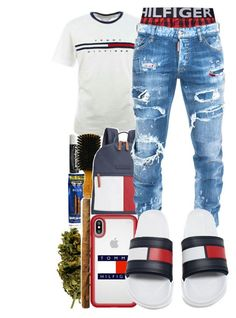 """""""Untitled #109"""" by crenshaw-m4fia ❤ liked on Polyvore featuring Chapstick, Tommy Hilfiger, Speck, Dsquared2, men's fashion and menswear #MensFashionSwag Tommy Hilfiger Outfit, Swag Outfits Men, Dope Outfits For Guys, Rapper Outfits, Teen Boy Fashion, Mens Fashion 2018, Men's Fashion, Fashion Dresses, Urban Outfits"""