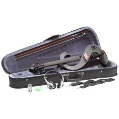 Violino elettrico Violino elettrico economico da studio Stagg EVN 4/4 di colore nero. Include, come da foto, astuccio arco e cuffie.