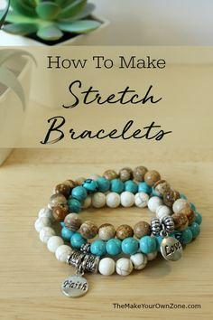How To Make Stretch Bracelets Diy Beaded Bracelets, Making Bracelets With Beads, Diy Bracelets Easy, Bracelet Crafts, Jewelry Crafts, Beaded Jewelry, Handmade Jewelry, Cord Bracelets, Beaded Earrings