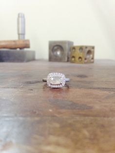 One of a Kind Floral White Emerald Rosecut Diamond Ring
