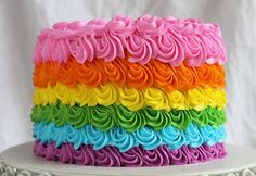 Looking for cake decorating project inspiration? Check out Rainbow Rosette Cake by member Amanda Rettke. Beautiful Cakes, Amazing Cakes, Rosette Cake, Salty Cake, Fashion Cakes, Rainbow Birthday, Birthday Cake, Cake Decorating Tips, Buttercream Cake