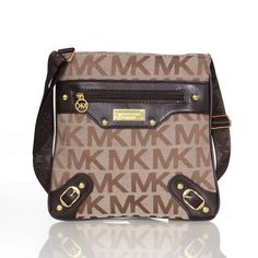Michael Kors Logo Signature Stud Large Khaki Crossbody Bags Outlet
