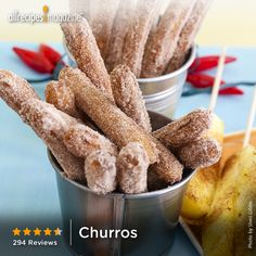 """Churros   """"Very easy recipe, and the outcome was excellent! Very authentic! Tip: Fry dough ASAP to avoid a gooey mess."""" - MYSUNSHYN"""