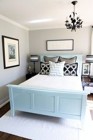 Light grey, light blue, and dark accents. Love these colors! Sometimes simple is best. The out of these world fabulous rooms are wonderful to look at; yet, its these rooms that say home to me.