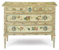AN ITALIAN POLYCHROME-PAINTED AND PARCEL-GILT COMMODE,  LATE 18TH CENTURY  sold at Christies for  $5,250