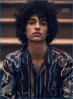Samuels Heads to Harlem with GQ España Tre Samuels dons a western-inspired shirt from Dolce & Gabbana.Tre Samuels dons a western-inspired shirt from Dolce & Gabbana. Beautiful Boys, Pretty Boys, Beautiful People, Curly Hair Men, Curly Hair Styles, Attractive People, Interesting Faces, Male Face, Drawing People