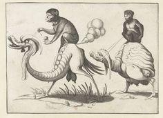 Twee monsters bereden door apen, Arent van Bolten, c. 1604 - c. 1616