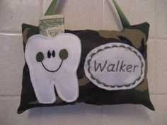 Tooth Fairy Pillow green camo fabric for boys by on Etsy Tooth Pillow, Tooth Fairy Pillow, First Baby, Etsy Store, Teeth, Camo, Baby Kids, Appreciation, Stitch