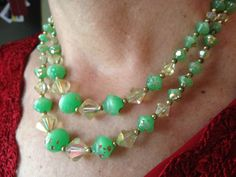 vintage green beaded necklace, green bead necklace, green beads necklace, Green Double Strand Necklace, Multi Strand Necklace, 1950s by DuckCedar on Etsy