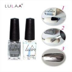 2017 Fashion 2pc/lot  6ml Silver Mirror Effect Metal Gel Nail Polish Varnish Top Coat Metallic Nails Art Tips nail polish set