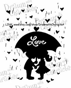 Valentine's Day Boy and Girl Digital Stamp by DrawnwithCharacter, $4.00