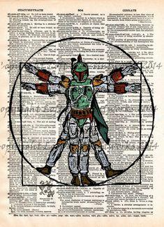 Boba Fett, Star Wars, Da Vinci vitruvian man art print, dictionary page print - - 1