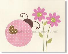 Ladybug Print with Flower