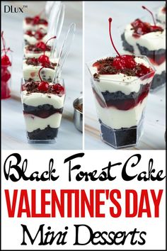 Looking for easy no bake Valentines day dessert recipes? Check out these black forest cake Valentines Day mini dessert c Mini Desserts, Mini Dessert Cups, Mini Dessert Recipes, No Bake Desserts, Gourmet Recipes, Delicious Desserts, Yummy Food, Individual Desserts, Frozen Desserts