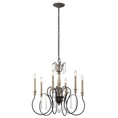 Kichler Lighting Kimblewick Collection 6-light Weathered Zinc Chandelier, Black (Glass)