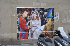Another graffiti artwork from Combo Street Art. This time, it is focusing on the royal weeding of Kate Middleton and Prince William. Combo had replaced the couple with characters form Disney. By doing so, it added humor to the artwork.