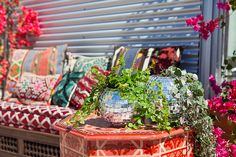 disco ball planters for air bnb's pop up home designed by justina blakeney