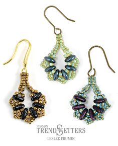 Serendipity Earrings by TrendSetter Leslee Frumin | Use the CzechMates Bar, Lentil, or Triangle in this fan-shaped beaded earring.