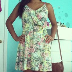 cute summer dress. in love with retro floral and palm leave patterns lately.