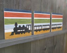 Train painted on wood