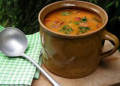 Soup, Tableware, Ethnic Recipes, Author, Red Peppers, Dinnerware, Tablewares, Soups, Dishes