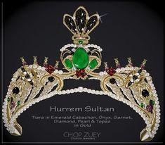 MVW Hurrem Sultan Tiara by Chop Zuey Couture Jewellery. Tiara in emerald cabachon, onyx, garnet, diamond, pearl and topaz in gold.